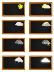 Symboles météo sur tableaux noirs