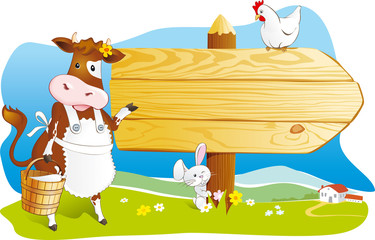 Farm animals wooden signboard copy space