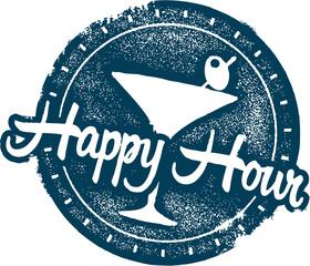 Happy Hour Cocktail Bar Menu Stamp