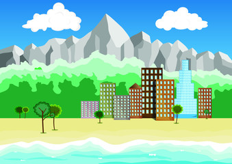 small city on the beach