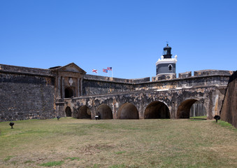 El Morro Fort entrance and lighthouse in San Juan