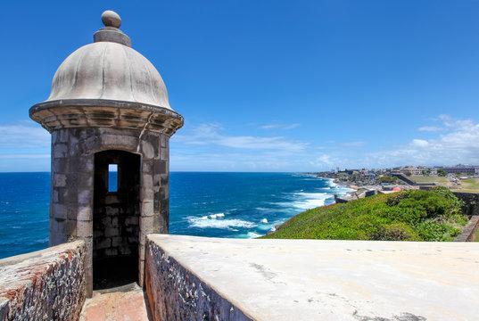 Watch Tower  at El Morrow, Old San Juan in background