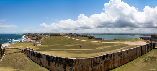 Old San Juan ,El Morrow fort walls in foreground