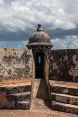 clouds form above Watch Tower  at El Morrow in San Juan