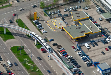 Birdseye view of a monorail train in Moscow, Russia