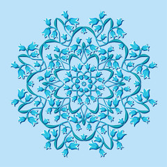 circular pattern with blue flowers - vector illustration