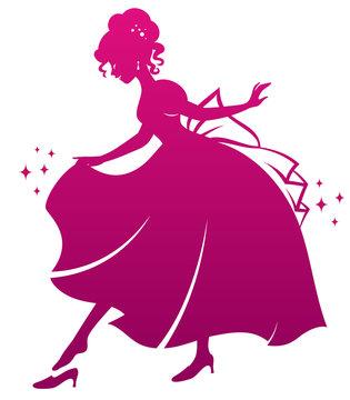 silhouette of Cinderella wearing her glass slipper