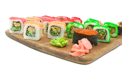 different sushi and rolls. horizontal photo.