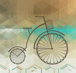 Retro Bicycle on a Color Background