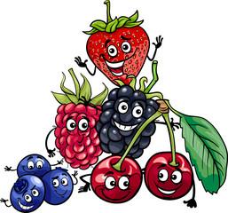 berry fruits group cartoon illustration