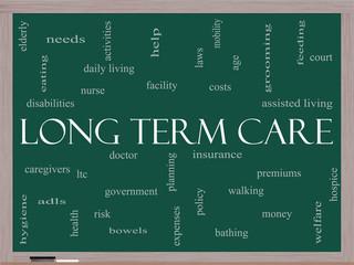 Long Term Care Word Cloud Concept on a Blackboard