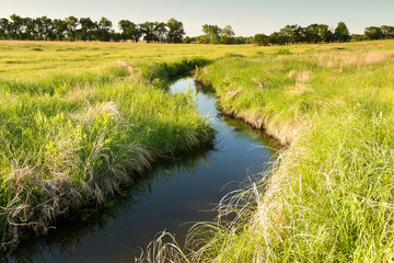 Fototapeta creek winding through Kansas pasture field obraz