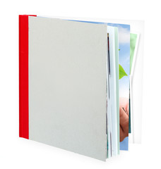 Blank book, photo album against a white background