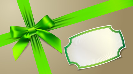 Green bow on background