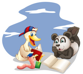 Animals reading books