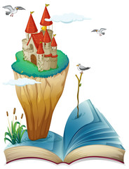 A book with an island with a castle