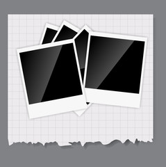 Camera, photos frame vector illustration