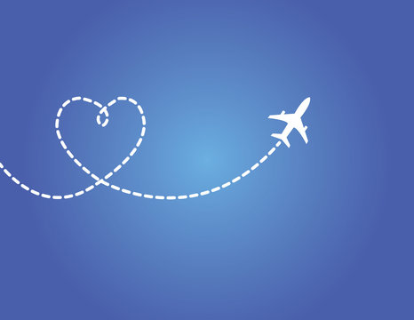 Airplane flying in dark blue sky with love shaped smoke trail