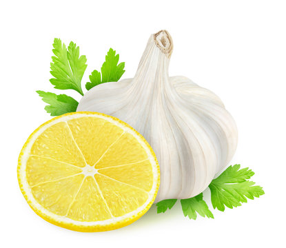 Isolated spices. Slice of lemon, garlic and parsley leaf (gremolata sauce ingredients) isolated on white background