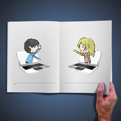 Two children communicating from computers inside a open book