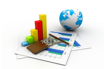 Business graph chart and money. (global business concept).