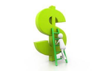 Man Climbing up the dollar symbol