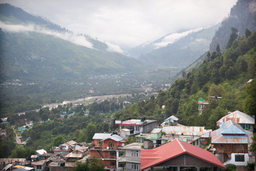 View of Kulu valley - Vashist village and Beas river,  India
