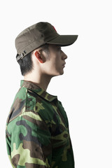 Profile of Solider, China, Studio Shot