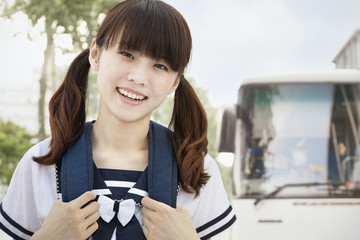 Girl Commuting to School