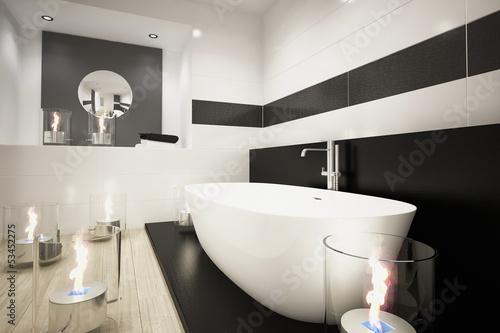 modernes badezimmer mit badewanne und kerzen stockfotos und lizenzfreie bilder auf. Black Bedroom Furniture Sets. Home Design Ideas