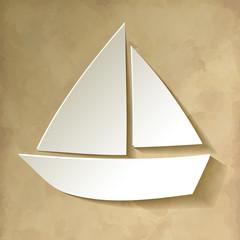Segelboot Papier Weiss Hintergrund Vintage