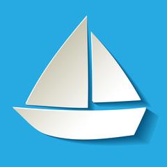 Segelboot Papier Weiss Hintergrund Blau Hell