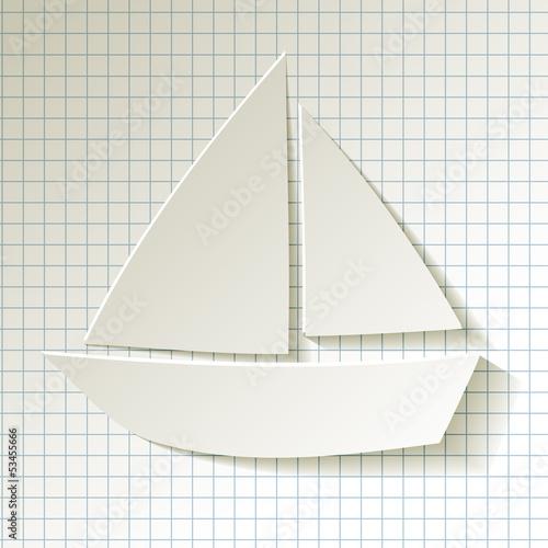 Segelboot applikation  Segelboot weiss Hintergrund kariertes Papier