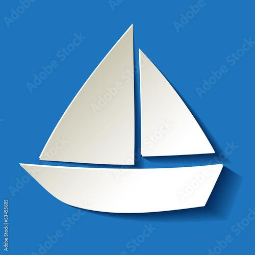 Segelboot applikation  Segelboot Papier Weiss Hintergrund Blau Dunkel