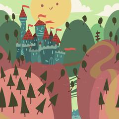 Cartoon Castle on a Hill