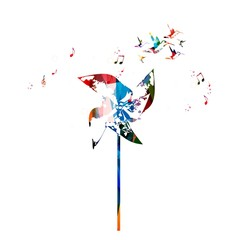 Colorful paper windmill vector background with hummingbirds