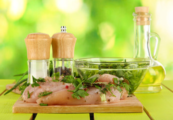 Chicken meat in glass plate,herbs and spices