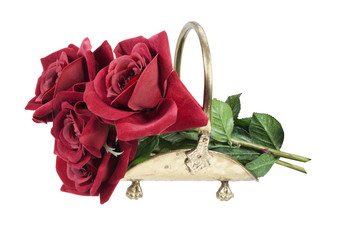 Red Roses in a Brass Carrier