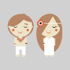 Hippie.  Illustration of man and woman in vector.