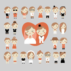 Cute vector set of wedding, love and sweets