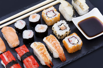 stone plate with sushi