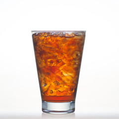 Root beer flavor aerated drinks with water soda and ice in glass