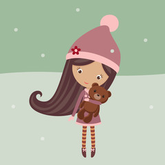 Cute girl in a winter outfit with her teddy bear outside
