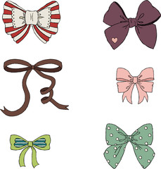 Vintage bows hand drawn illustration. Isolated on white