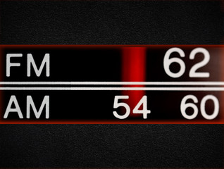 Radio scale, old radio close up
