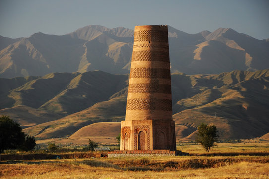 Old Burana tower located on famous Silk road, Kyrgyzstan