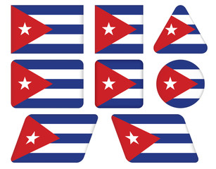 set of buttons with flag of Cuba