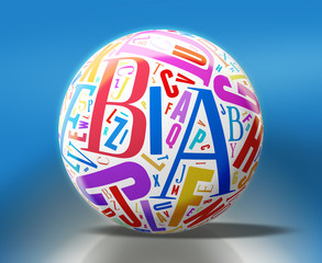 3d White Sphere with Colorful Letters - Clipping path included