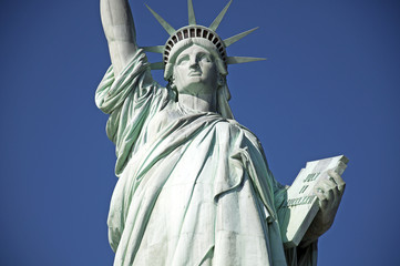 Statue of Liberty horizontal blue sky background