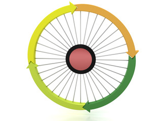 Arrows in different colors as a circle on a white background №3